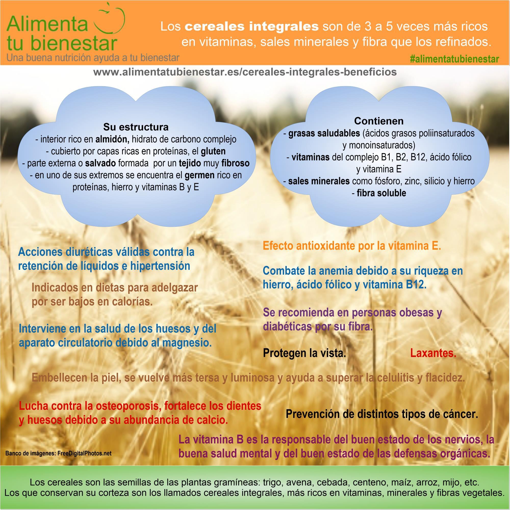 Infografía Beneficios de los cereales integrales