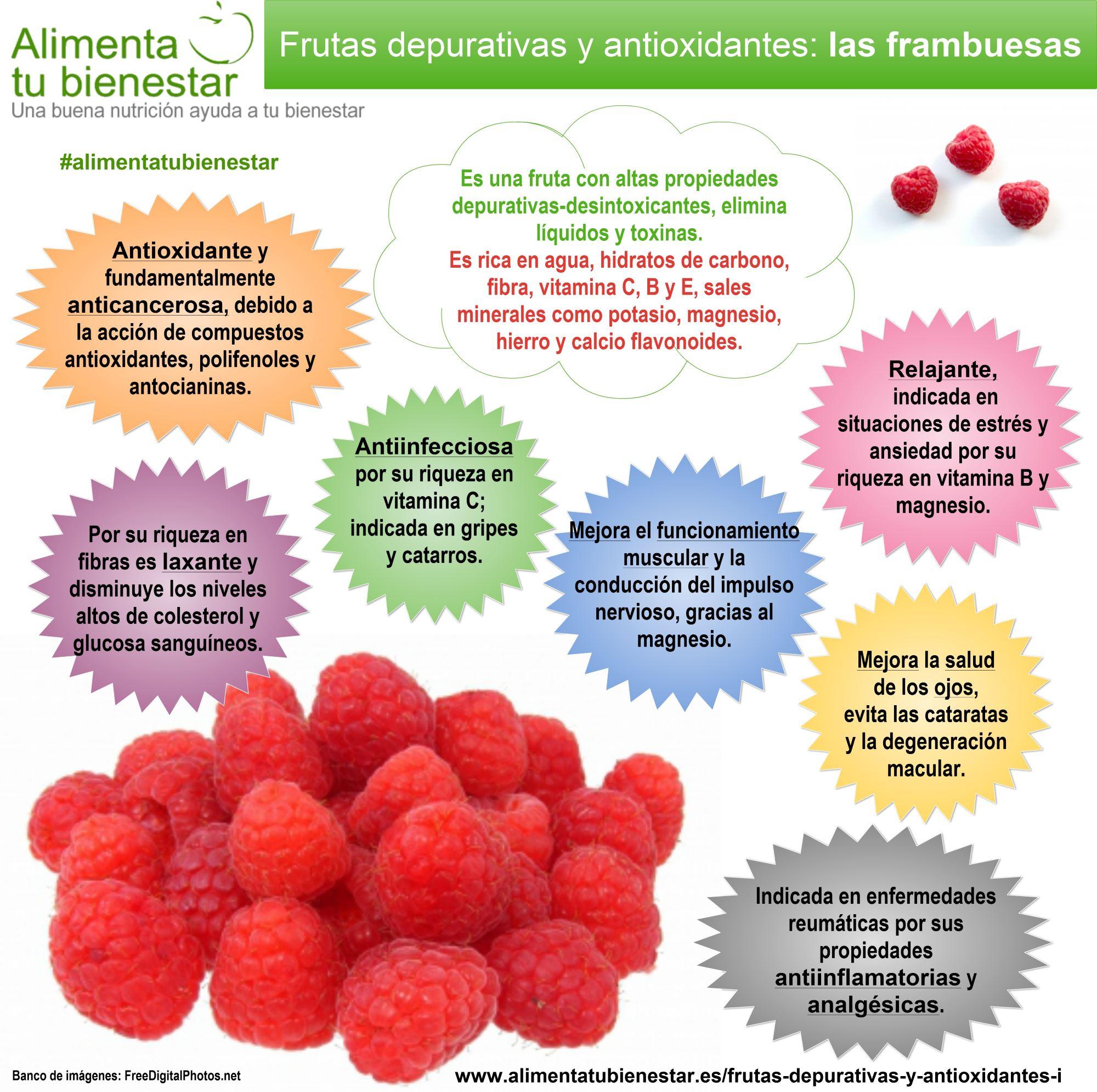 Infografía Frutas depurativas y antioxidantes Las Frambuesas