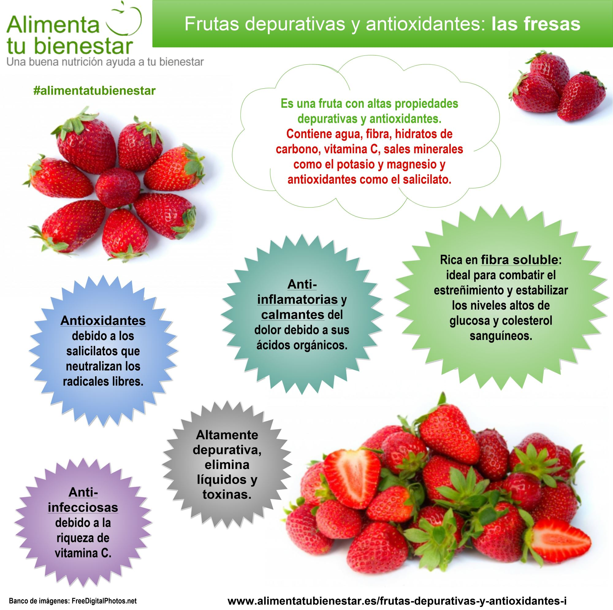 Infografía Frutas depurativas y antioxidantes Las Fresas