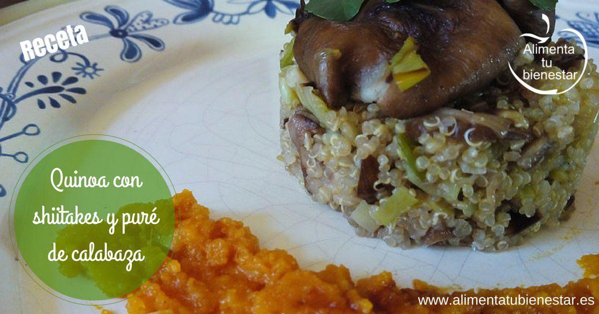 Receta de quinoa on shiitakes y puré de calabaza
