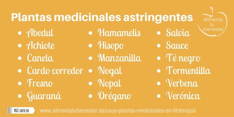 Plantas medicinales astringentes
