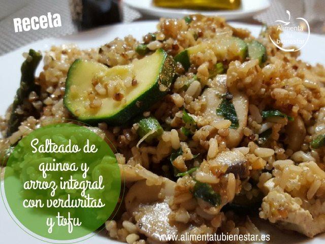 Salteado de quinoa y arroz integral con verduras y tofu - Salteado de arroz ...