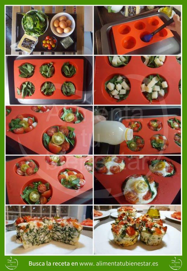 receta muffins de espinacas infografía